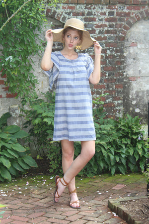 cool modern casual striped chambray denim a line relaxed flutter sleeve shift pool party beach coverup dress