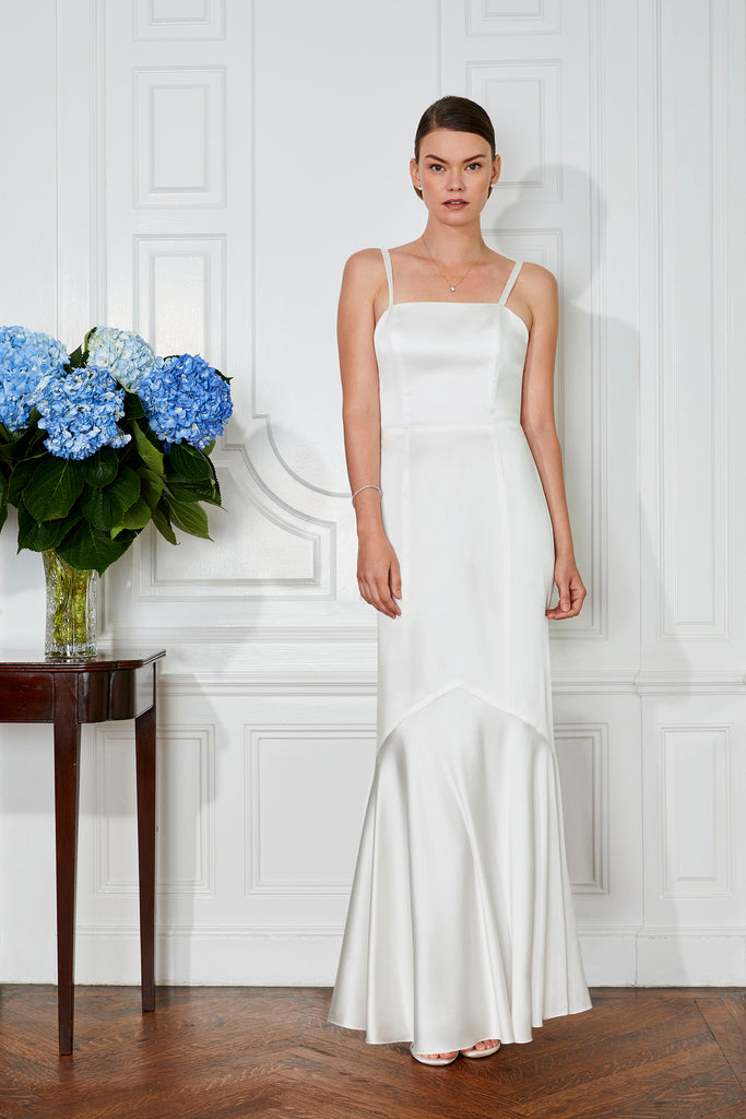 floor length designer first dance wedding dress perfect for a modern bride rehearsal and reception