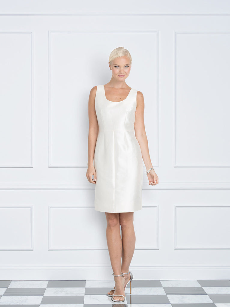 Jane Summers Lisa little white silk reception, rehearsal dinner, second marriage and after party dress