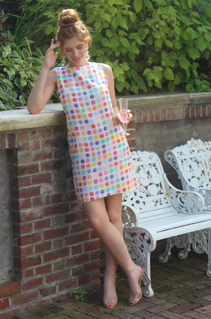 modern classic stylish fun flirty a line multi color polka dot pattern business casual work office dress