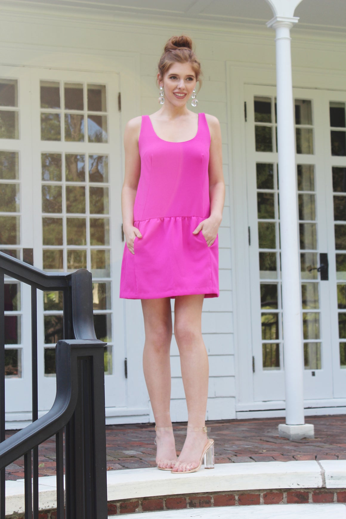 modern crepe hot pink fucshia drop waist athleisure cool a line mini dress for work weddings showers date night