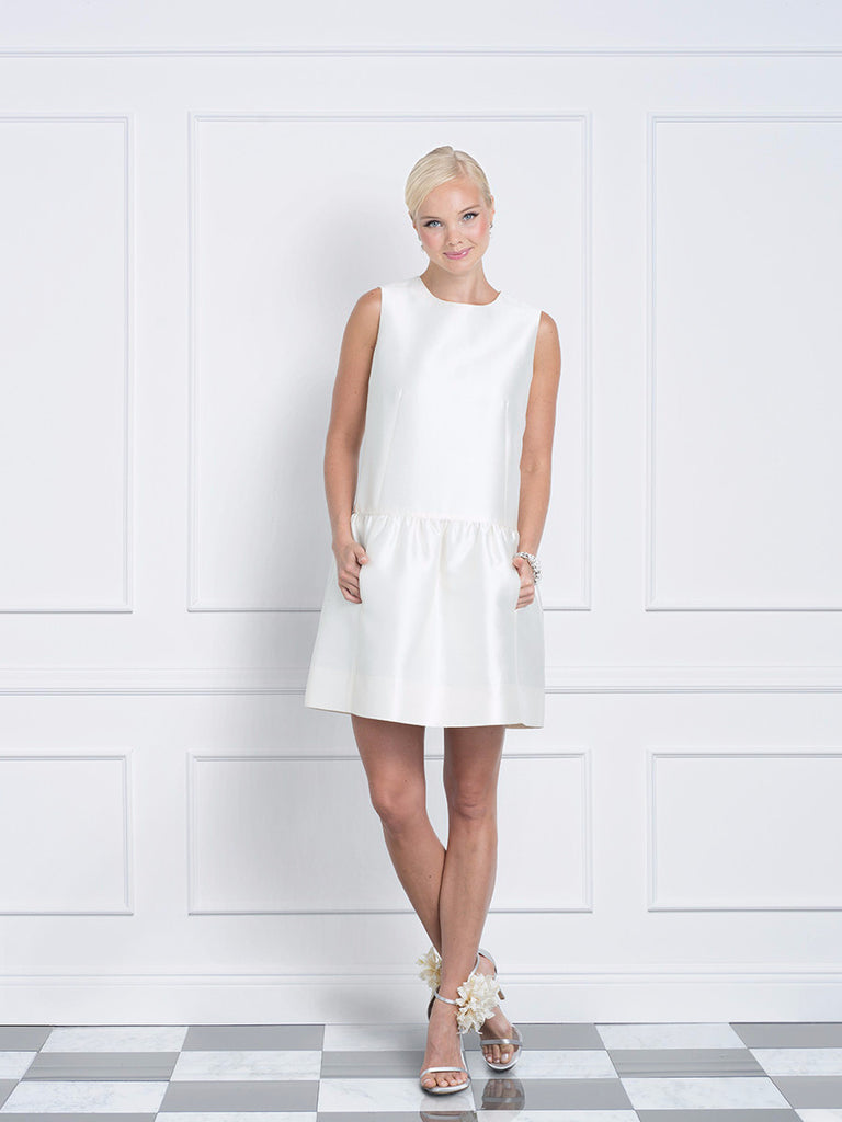 Jane Summers Kate little white engagement party, rehearsal dinner and wedding  reception shift dress