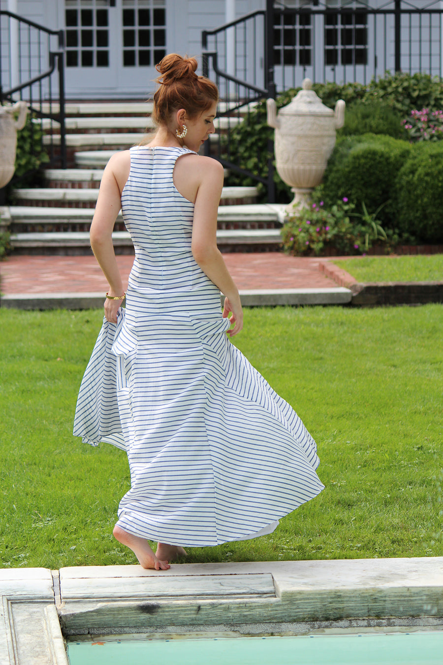 scoop neck striped flattering drop waist fitted racer back designer flowy airy maxi dress pockets pool party