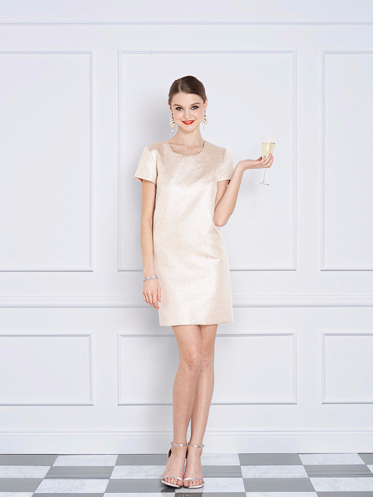 Champagne Pink Short Sleeve Cocktail and Wedding Dress - Jane Summers