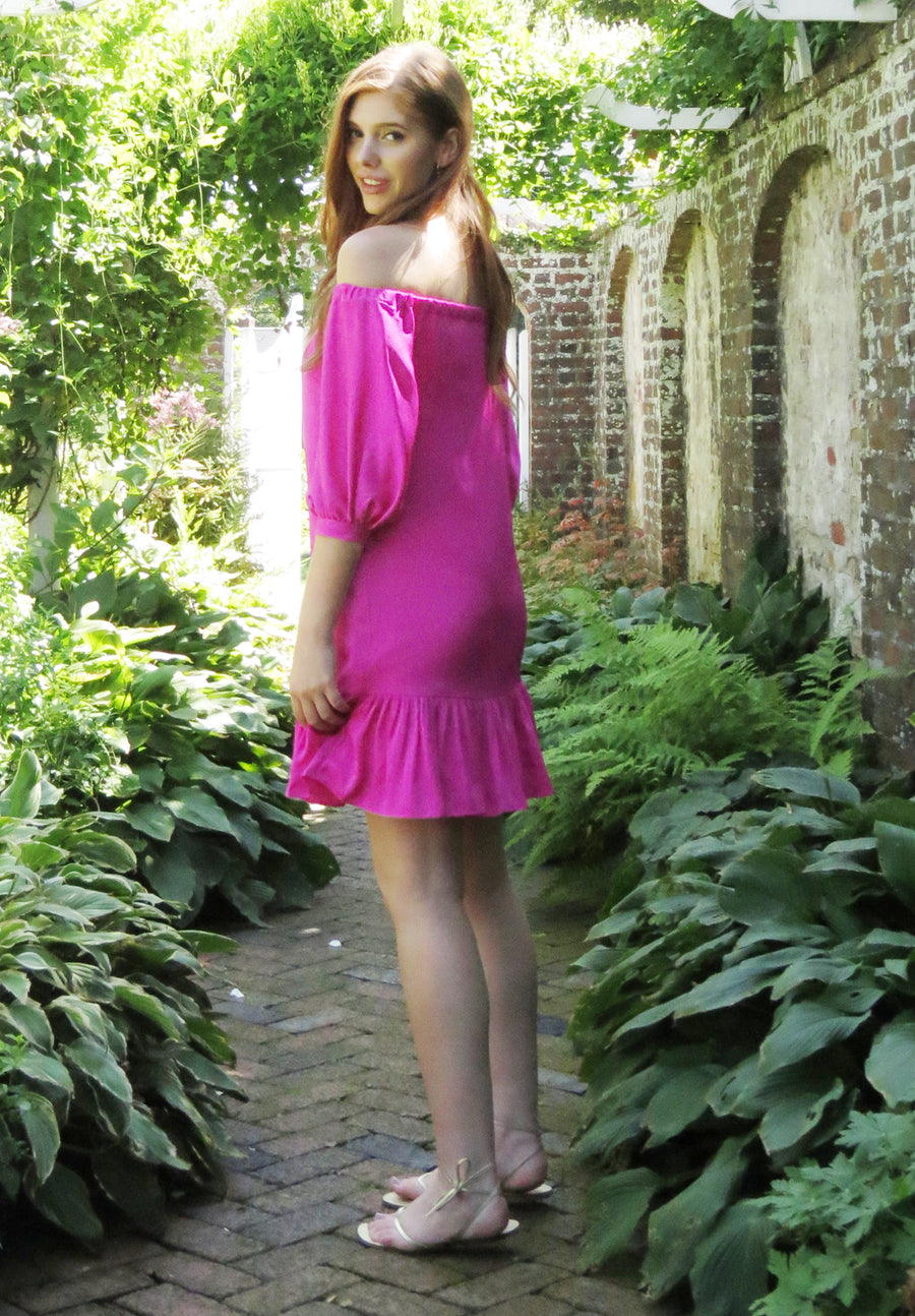 sexy hot pink off shoulder flattering a line shift dress with fucshia ruffle balloon sleeve wedding guest