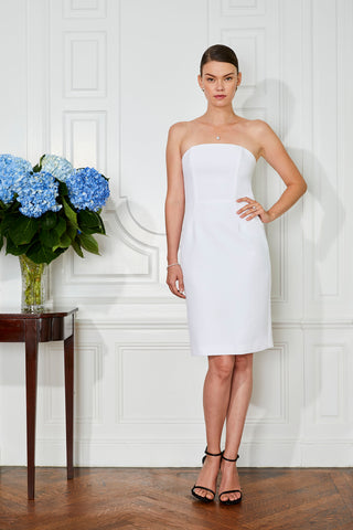 Short Casual Modern Wedding Dress Strapless Knee Length Bridal Gown Civil Ceremony Fitted Flattering