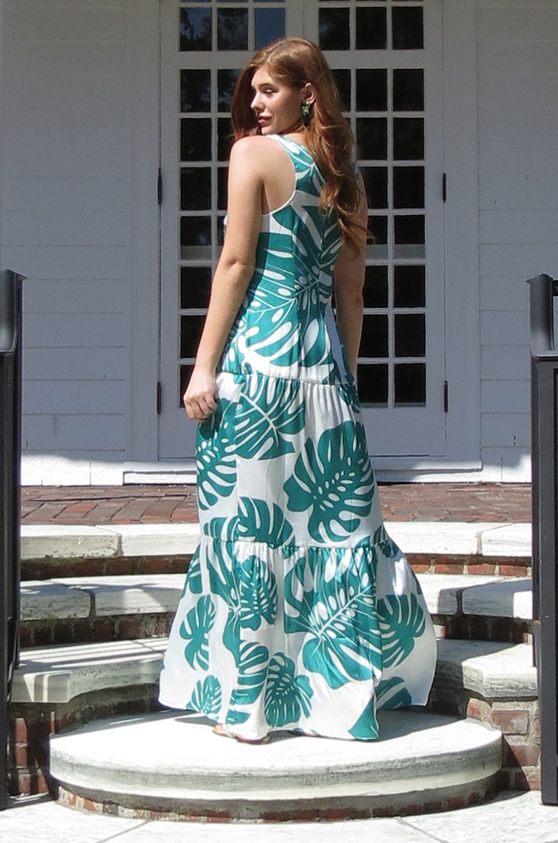Elegant modern green palm print stylish flattering racerback airy tiered ruffle maxi dress casual dress flowy