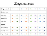 Zeega Size Chart Bust Waist Hip Measurements