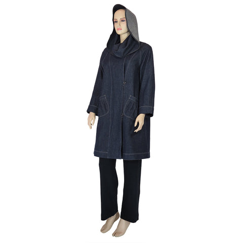 Hooded Swing Coat in Hemp & Organic Cotton