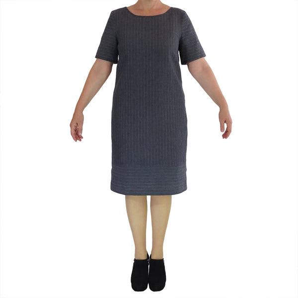 Zeega Linen Classic Shift Dress With Single Base Pin Stripe Front
