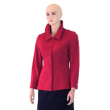 Red Hemp Long Line Jacket with Straight Collar Up