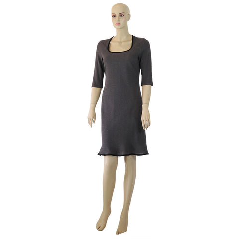 Hemp Knit Dress with Contrasting Bias
