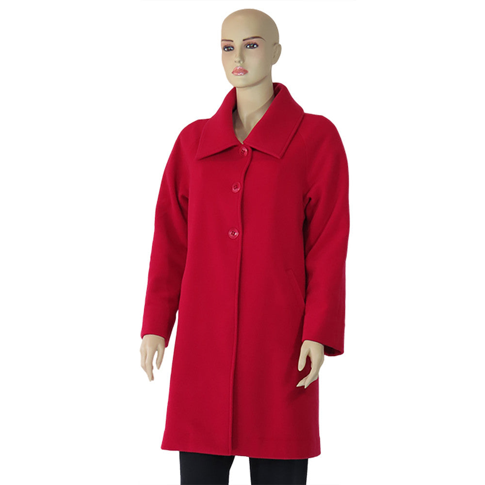 Red Cashmere and Wool Coat Lined in Hemp and Silk
