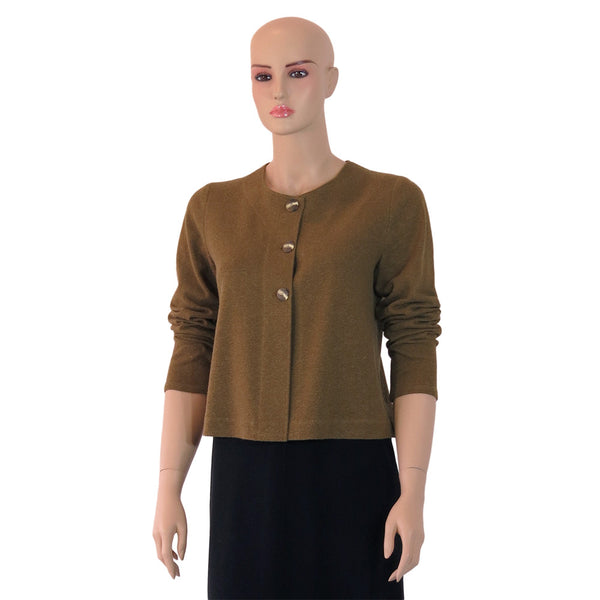 Zeega Z0072 Olive Hemp Organic Cotton Knit Short Box Cardigan
