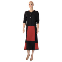 Zeega Red Geometric Hemp and Organic Knit Skirt Front 2