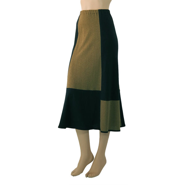 Zeega Olive Geometric Hemp and Organic Knit Skirt Front 1