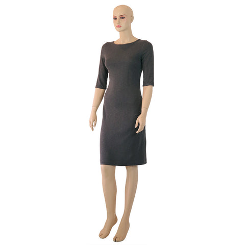 Hemp Knit Italian Neck Straight Dress