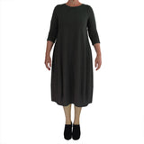 Zeega Z0084 Hemp and Organic Cotton Knit Tulip Dress Black Size 08 Front