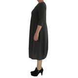 Zeega Z0084 Hemp and Organic Cotton Knit Tulip Dress Black Size 08 Side