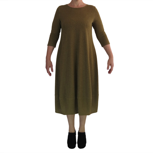 Zeega Z0084 Hemp and Organic Cotton Tulip Dress Olive Size 14 Front