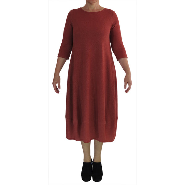 Z0084 Zeega Hemp Organic Cotton Tulip Dress Rust Front