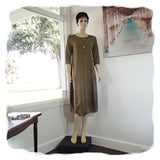 Zeega Z0084 Hemp and Organic Cotton Knit Tulip Dress Olive Front