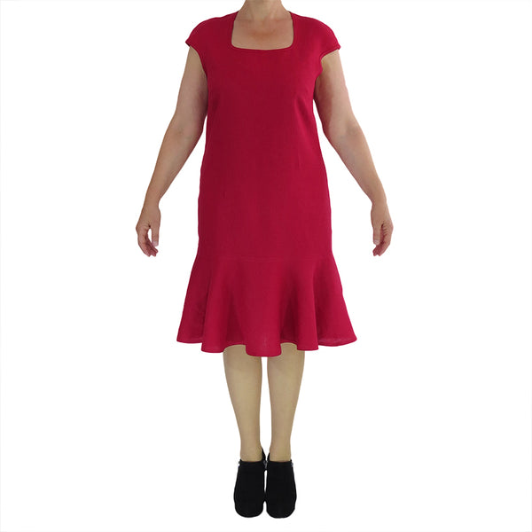 Zeega Linen Milly Dress Red Front