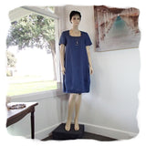 Zeega Z0089 Linen Tulip Dress with Short Sleeves Denim Blue Front