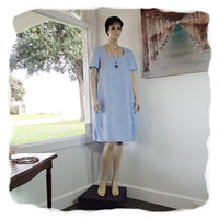 Zeega Z0089 Linen Tulip Dress with Short Sleeves Ice Blue Front