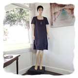 Zeega Z0089 Linen Tulip Dress with Short Sleeves Navy Front