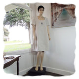 Zeega Z0089 Linen Tulip Dress with Short Sleeves Oatmeal Front