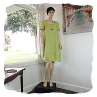 Zeega Z0089 Linen Tulip Dress with Short Sleeves Punch Front