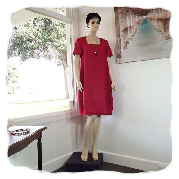 Zeega Z0089 Linen Tulip Dress with Short Sleeves Red Front