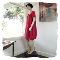 Zeega Z0089 Linen Tulip Dress with Short Sleeves Red Side