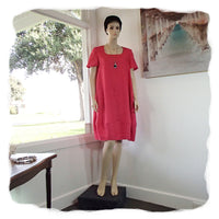 Zeega Z0089 Linen Tulip Dress with Short Sleeves Watermelon Front