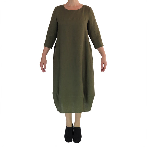 Zeega Linen Tulip Dress long with 3/4 sleeves Olive Front