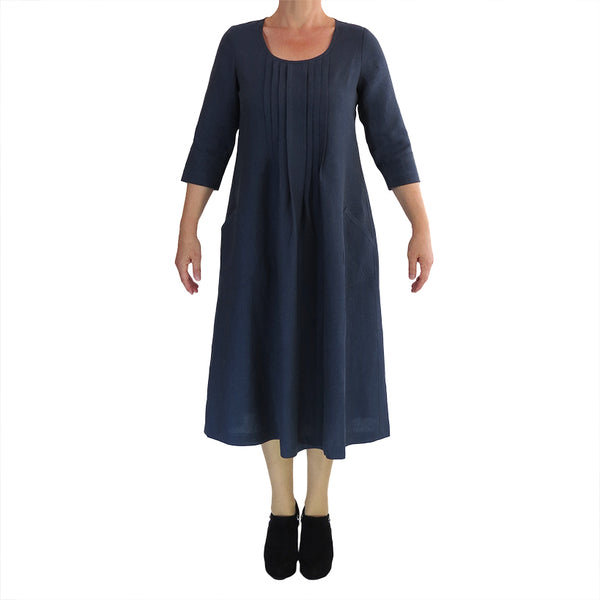 Zeega Z0093 Linen Pin Tuck Dress long sleeves Navy Front