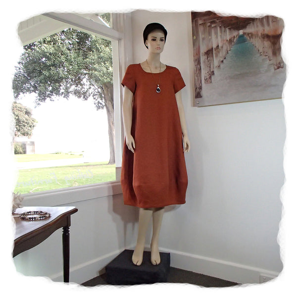 Linen Tulip Dress Longer with Short Sleeves