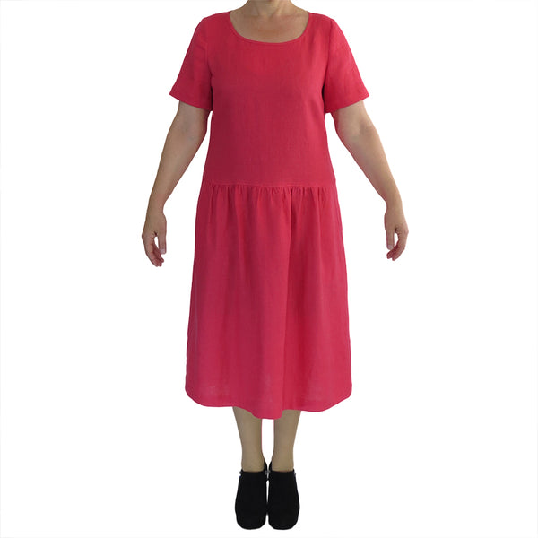 Zeega Z0100 Linen Drop Waist Dress Watermelon Front