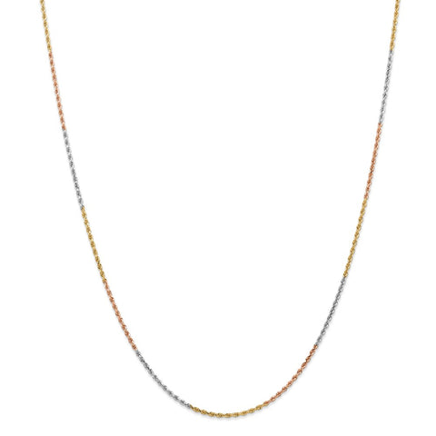 14k Tri-Color 1.5mm D/C Rope Chain