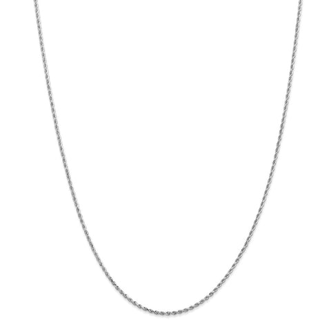 14k White Gold 1.5mm D/C Rope Chain