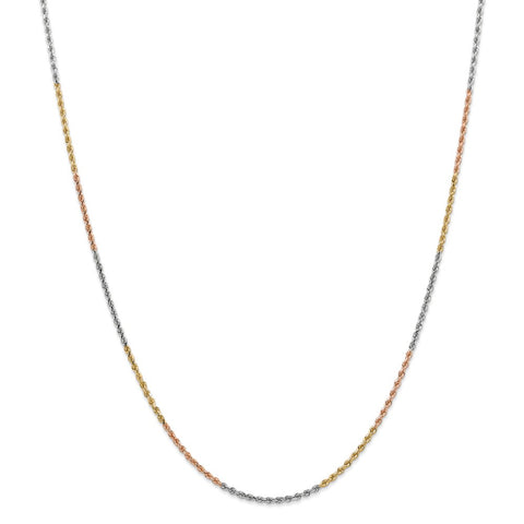 14k Tri-Color 1.75mm D/C Rope Chain