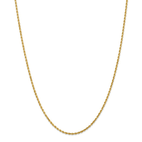 14k 2mm D/C Rope with Lobster Clasp Chain