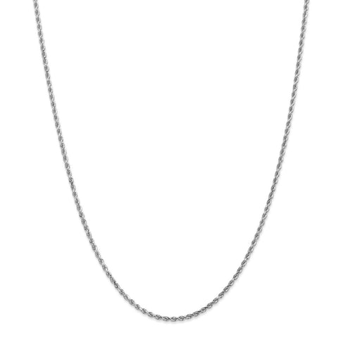 14k White Gold 2mm D/C Rope Chain