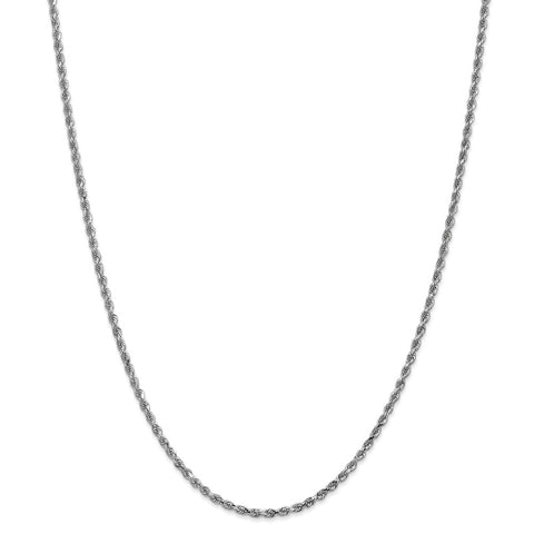 14k White Gold 2.25mm D/C Rope Chain