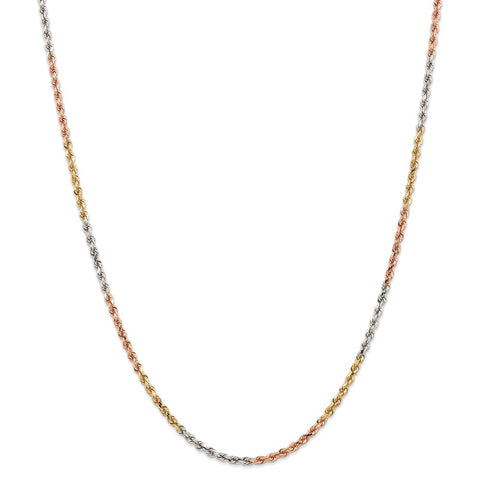 14k Tri-Color 2.9mm D/C Rope Chain
