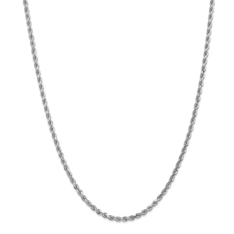 14k White Gold 3.2mm D/C Rope Chain