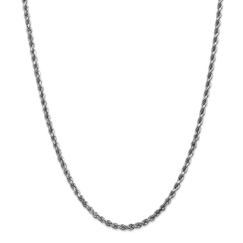 14k White Gold 3.5mm D/C Rope Chain