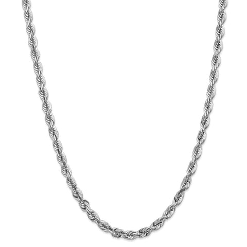14k White Gold 5.5mm D/C Rope Chain