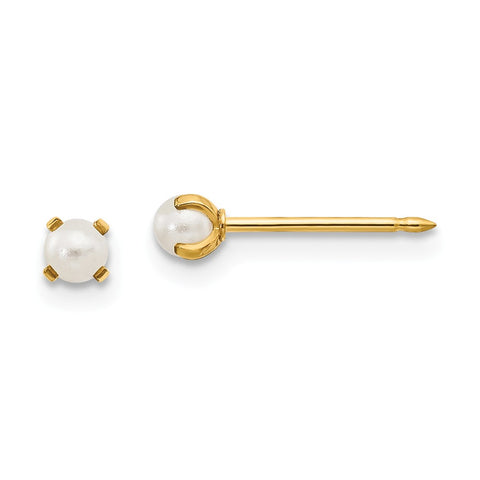 Inverness 14k 3mm Simulated Pearl Post Earrings